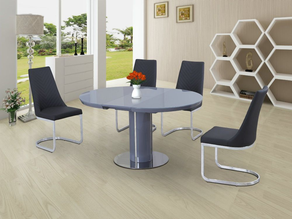 ECLIPSE Round / Oval Gloss & Glass Extending 110 to 145 cm Dining Table - GREY